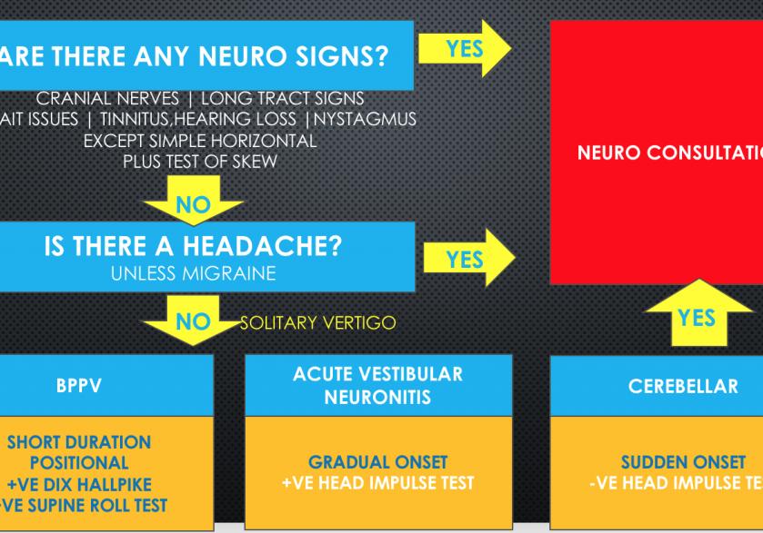 An algorithm for diagnosing the patient with vertigo